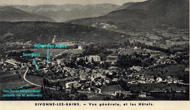 Vue générale de Divonne avec l'hôtel des Alpes