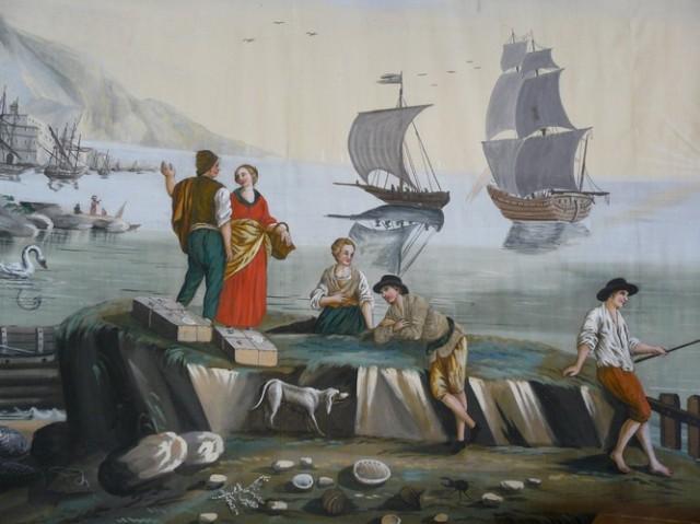 Bord de mer - Toile peinte de la villa Beaulieu à Divonne