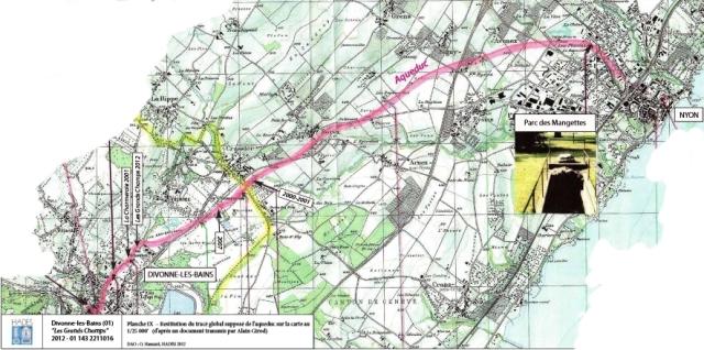 Itinéraire supposé de l'aqueduc dessiné en 2012 par Hadès pour une étude de la construction d'immeubles aux Grands Champs. La carte indique le parc des Mangettes à Nyon où l'on voyait un morceau d'aqueduc aujourd'hui recouvert d'une plaque.