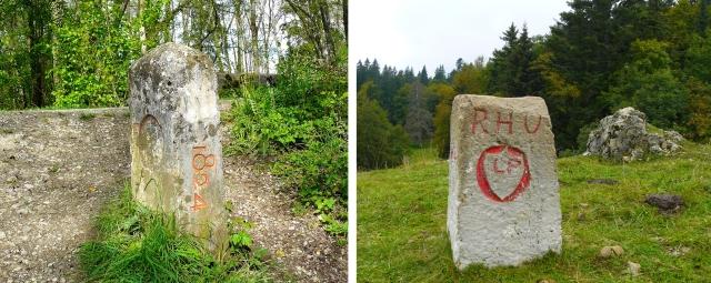 Deux bornes marquant la frontière de Divonne avec la Suisse : la borne du pont de Grilly et une borne en altitude.