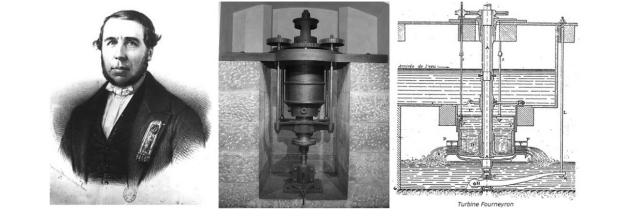 """Le Français Benoit Fourneyron est l'inventeur de la turbine hydraulique. Il dépose un brevet en 1832 pour sa """"roue à pression universelle et continue"""" et la perfectionne dans les années suivantes. Vers 1843, plus de cent manufactures, forges ou filatures utilisent la turbine Fourneyron, à travers l'Europe."""