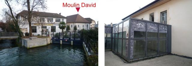 A l'arrière du Moulin David, la canal d'amenée d'eau et le caisson de verre qui abrite la turbine