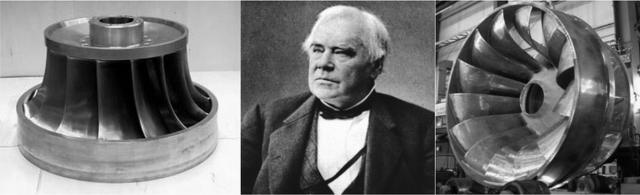 L'ingénieur hydraulicien américano-britannique James Bichens Francis a inventé la turbine qui porte son nom en 1848. C'est une turbine à réaction, immergée, composée de 8 à 15 aubes, qui transforme à la fois la vitesse de l'eau (énergie cinétique) et une différence de pression. Elle est utilisée pour les moyennes chutes.