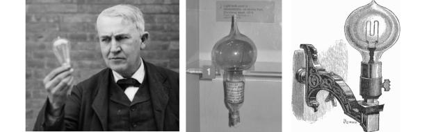 L'américain Thomas Edison perfectionne en 1879 l'ampoule inventée par Joseph Swan - A droite : une ampoule murale Maxim (1889)